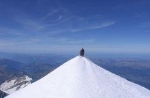szczyt góry, śnieg, widok, góra